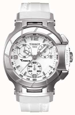 Tissot Heren t-race chronograaf witte rubberen band witte wijzerplaat T0482171701700