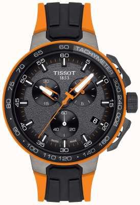 Tissot Heren t-race cycling zwart oranje rubberen band T1114173744104