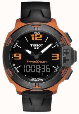 Tissot Heren t-race touch-alarm zwarte rubberen band T0814209705703
