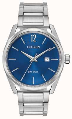 Citizen Eco-drive roestvrijstalen blauwe wijzerplaat datumweergave voor heren BM7410-51L