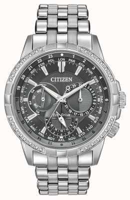 Citizen Herenhorloge met grijze wijzerplaat en kalender met diamanten BU2080-51H
