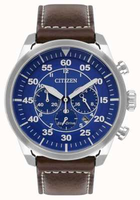 Citizen Avion eco-drive blauwe wijzerplaat lederen band, bruin wr100 CA4210-41L