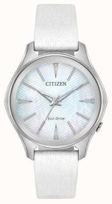 Citizen Dames eco-drive zilverkleurige wijzerplaat lederen band EM0590-03D