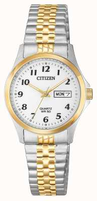 Citizen Womens quartz two tone zilveren wijzerplaat uitbreiding armband EQ2004-95A