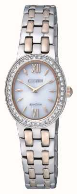 Citizen Eco-drive voor dames | roestvrij staal | band kristal set | EX1396-52A