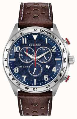 Citizen Heren eco-drive blauwe wijzerplaat bruin lederen chrono 100m AT2418-00L
