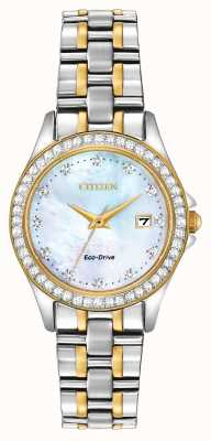 Citizen Tweekleurig eco-drive dameshorloge met regent-diamanten EW1844-50Y