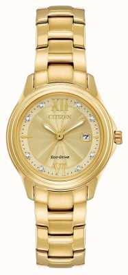 Citizen Gouden vergulde eco-drive kristal set dames FE1132-84P