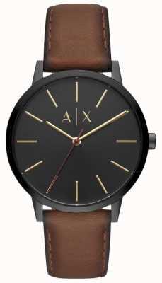 Armani Exchange Cayde heren bruine lederen band zwarte wijzerplaat AX2706