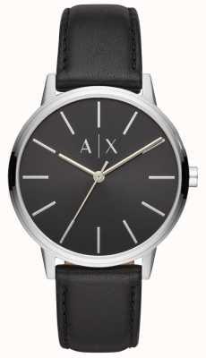 Armani Exchange Cayde heren zwarte lederen band zwarte wijzerplaat AX2703