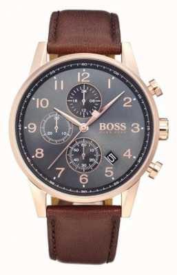 Boss Navigator chronograaf datum display zwart wijzerplaat bruin leer 1513496