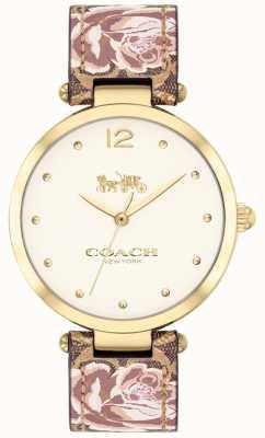 Coach Womens park horloge bloemen lederen band gouden Toon 14503178