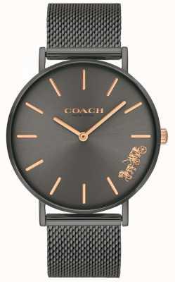 Coach Dames perry grijs ip stalen mesh armband horloge 14503127