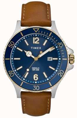 Timex Heren bruine lederen band blauwe wijzerplaat TW2R64500D