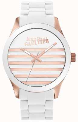 Jean Paul Gaultier Enfants verschrikkelijk unisex wit en roségoud rubberen horloge JP8501126
