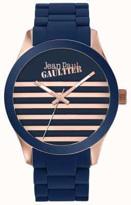 Jean Paul Gaultier Enfants verschrikkelijk unisex blauw en roségoud rubberen horloge JP8501127