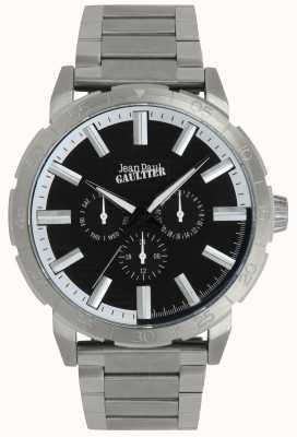 Jean Paul Gaultier Bomber heren roestvrij stalen armband horloge zwarte wijzerplaat JP8505404