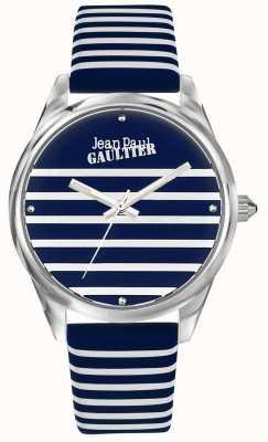 Jean Paul Gaultier (geen doos) navy dames horloge met gestreepte lederen band JP8502414