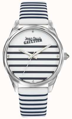 Jean Paul Gaultier Navy lederen damesriem met streephorloge JP8502416