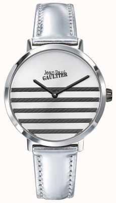 Jean Paul Gaultier Horloge van de zwarte lederen horlogeband van Glam Navy JP8505607