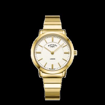 Rotary Damesvergrotend armbandhorloge in edelstaal uit londen LB00766/03