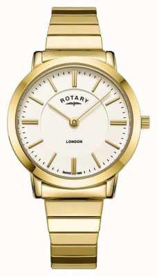 Rotary Dames london goud roestvrij stalen armband horloge met uitbreiding LB00766/03