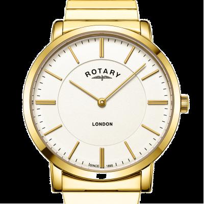 Rotary Goudkleurig roestvrijstalen herenhorloge met armband in londen GB02766/03