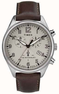Timex Mens het waterbury traditionele bruine bruin leer TW2R88200