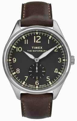 Timex Mens waterbury traditioneel zwart subdial bruin leer TW2R88800