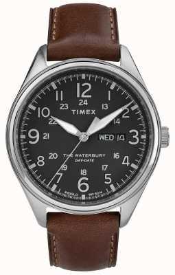 Timex Mens waterbury traditionele dag datum zwart bruin TW2R89000