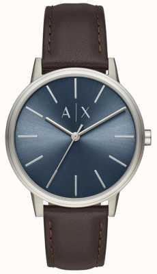Armani Exchange Herenhorloge bruin lederen band blauwe wijzerplaat AX2704