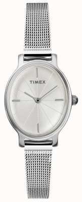 Timex Dames milano horloge | ovale wijzerplaat | roestvrij stalen gaasband TW2R94200D7PF