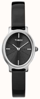 Timex Damesmilano ovale zilveren zwarte wijzerplaathorloge TW2R94500D7PF