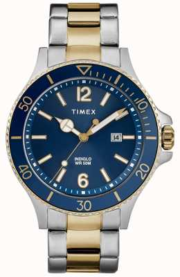 Timex Heren harborside two tone zilveren en gouden armband blauwe wijzerplaat TW2R64700D7PF