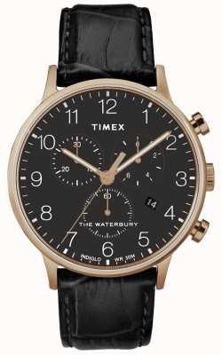Timex Heren waterbury classic rosé gouden horloge zwarte band TW2R72000D7PF