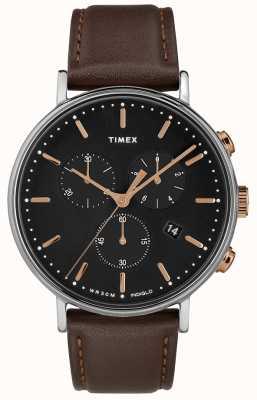 Timex Fairfield chronograaf bruine riem zwarte wijzerplaat TW2T11500D7PF