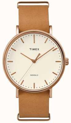 Timex Fairfield bruine riem 3 hand horloge TWF3C8160UK