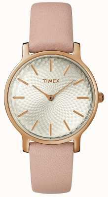 Timex Dames grootstedelijk lederen band horloge zilver roségoud TW2R85200D7PF