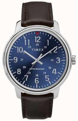 Timex Heren metropolitan bruin lederen horloge blauwe wijzerplaat TW2R85400