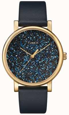 Timex Blauw leren dameshorloge met swarovski-kristallen TW2R98100D7PF