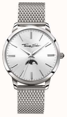 Thomas Sabo Mens rebel in heart spirit moonphase watch silver mesh WA0324-201-201-42