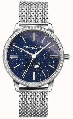 Thomas Sabo Womens glam en soul moonphase horloge zilveren mesh armband WA0326-201-209-33