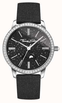 Thomas Sabo Womens glam en soul moonphase horloge zwart lederen band WA0327-209-203-33