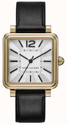 Marc Jacobs Womens vic horloge zwart lederen vierkante wijzerplaat MJ1437