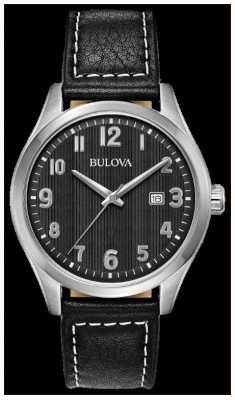 Bulova Herenhorloge zwarte wijzerplaat zwarte leren riem 96B299