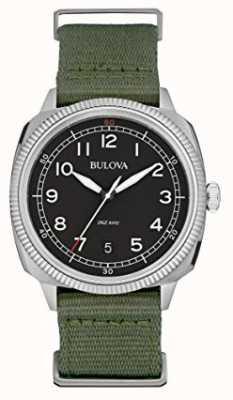 Bulova Militaire zwarte wijzerplaat groene canvas riem voor heren 96B299