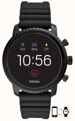 Fossil q gen 4 explorist hr zwart siliconen smartwatch FTW4018