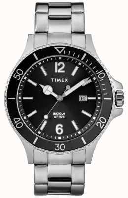 Timex Heren havborside roestvrij stalen armband zwarte wijzerplaat TW2R64600