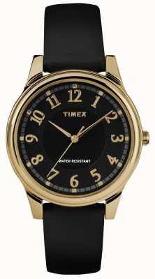 Timex Dames klassiek zwart lederen band horloge met zwarte wijzerplaat TW2R87100