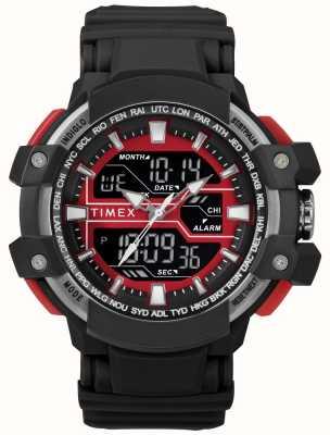 Timex Heren 50mm zwarte kast met rode accent zwarte riem TW5M22700